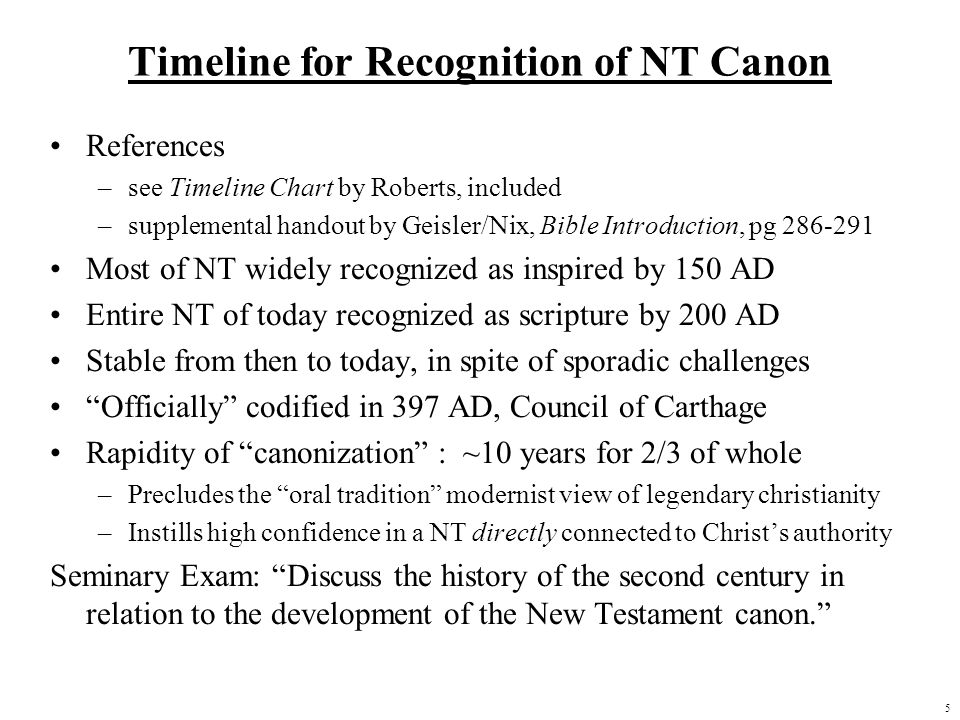 Timeline for Recognition of NT Canon