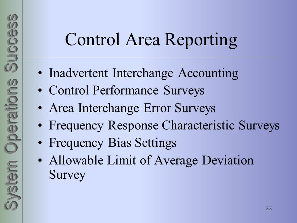 Control Area Reporting