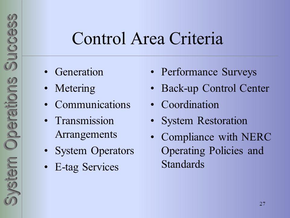 Control Area Criteria Generation Metering Communications