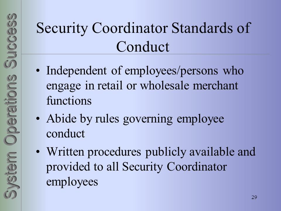 Security Coordinator Standards of Conduct
