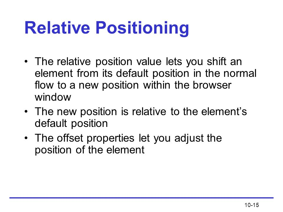 Relative Positioning
