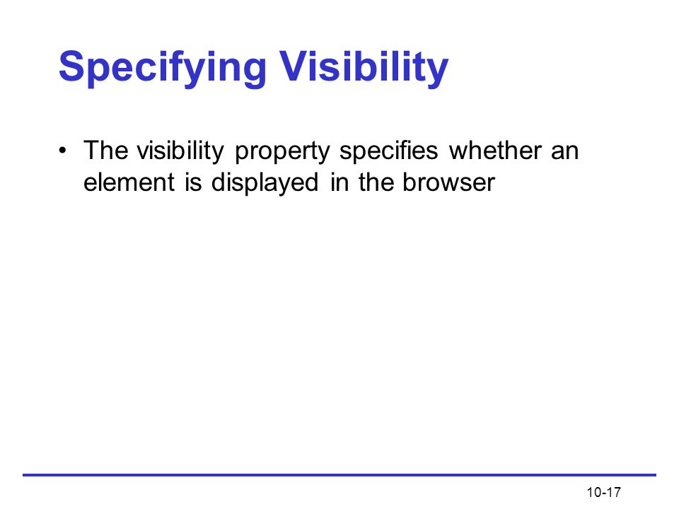 Specifying Visibility
