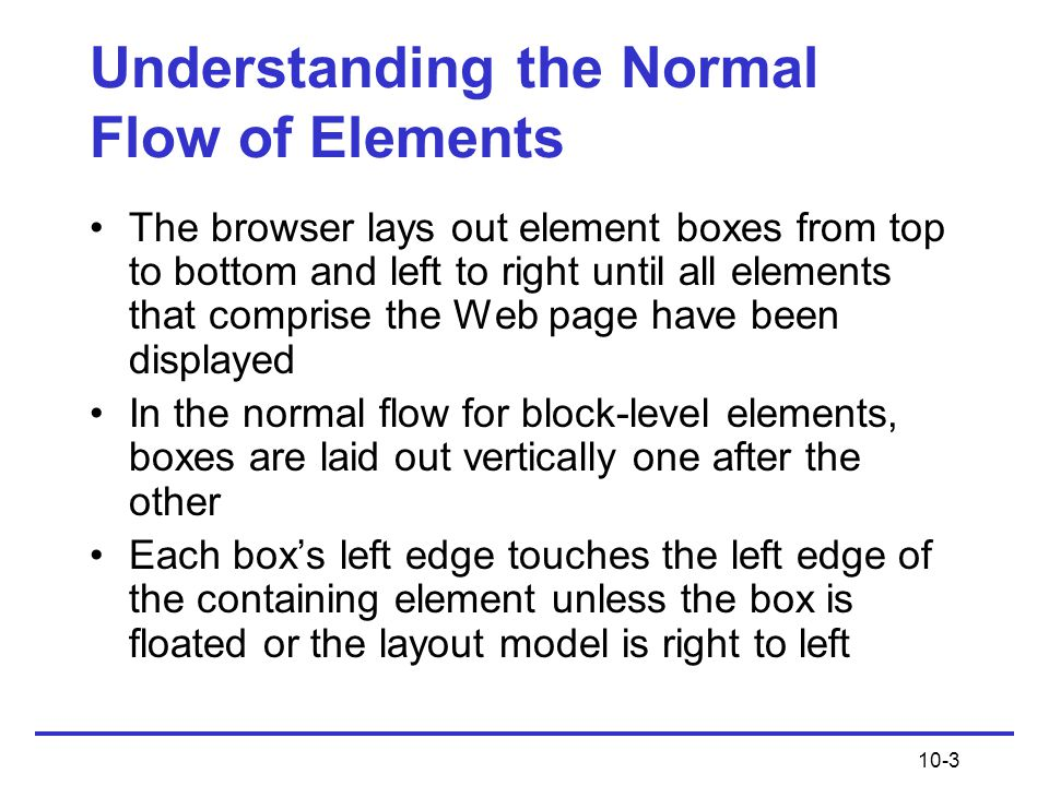 Understanding the Normal Flow of Elements