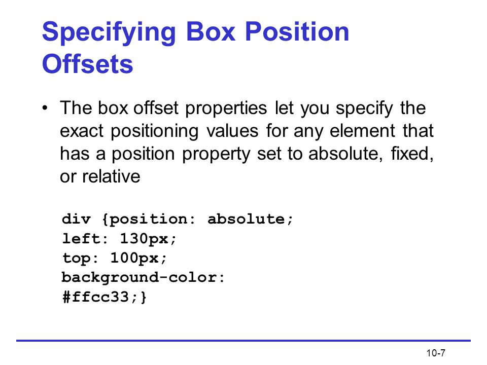Specifying Box Position Offsets