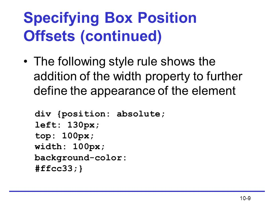 Specifying Box Position Offsets (continued)