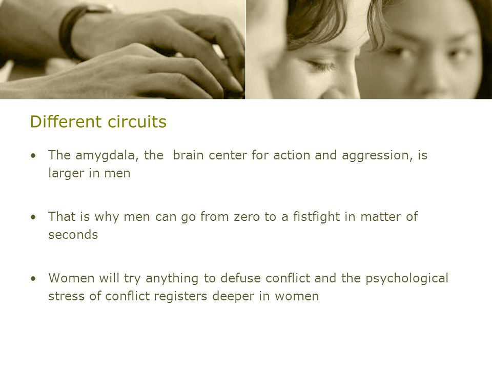 Different circuitsThe amygdala, the brain center for action and aggression, is larger in men.