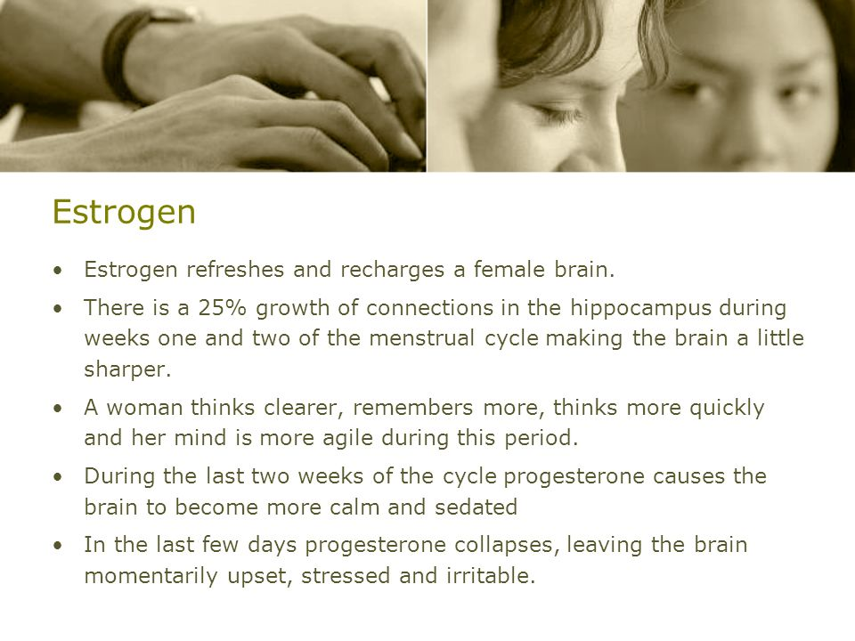 Estrogen Estrogen refreshes and recharges a female brain.