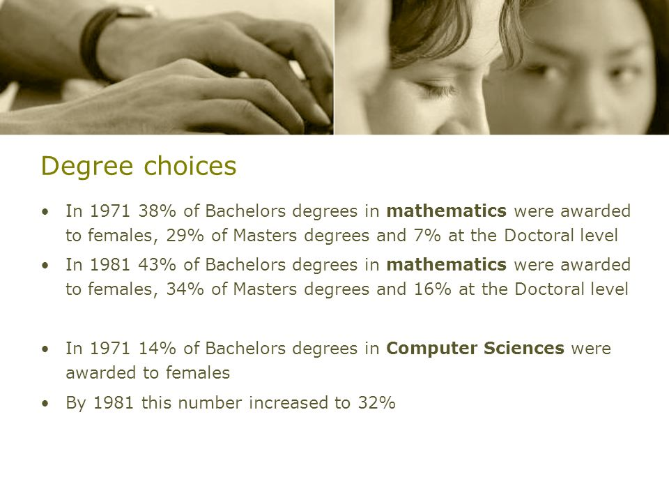 Degree choicesIn 1971 38% of Bachelors degrees in mathematics were awarded to females, 29% of Masters degrees and 7% at the Doctoral level.
