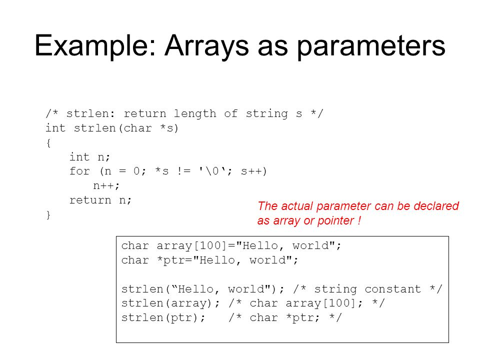 Example: Arrays as parameters