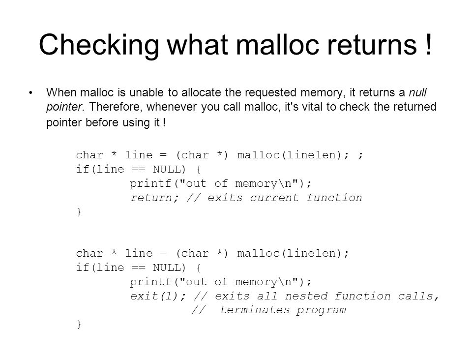 Checking what malloc returns !