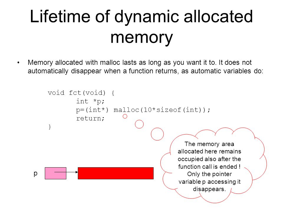 Lifetime of dynamic allocated memory