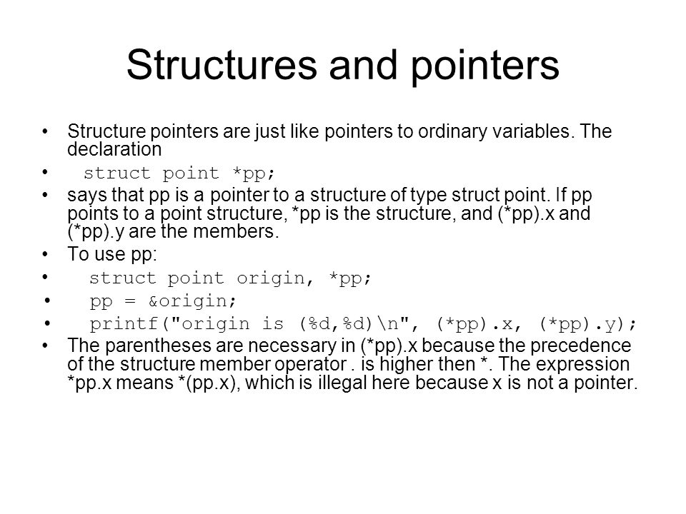 Structures and pointers