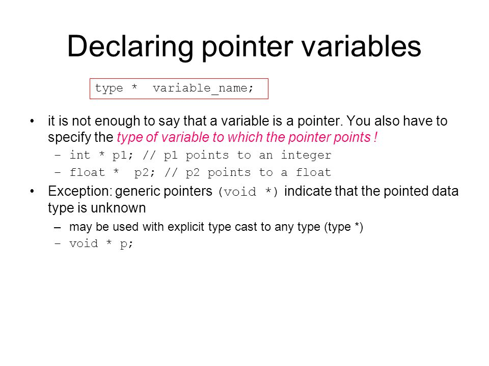 Declaring pointer variables