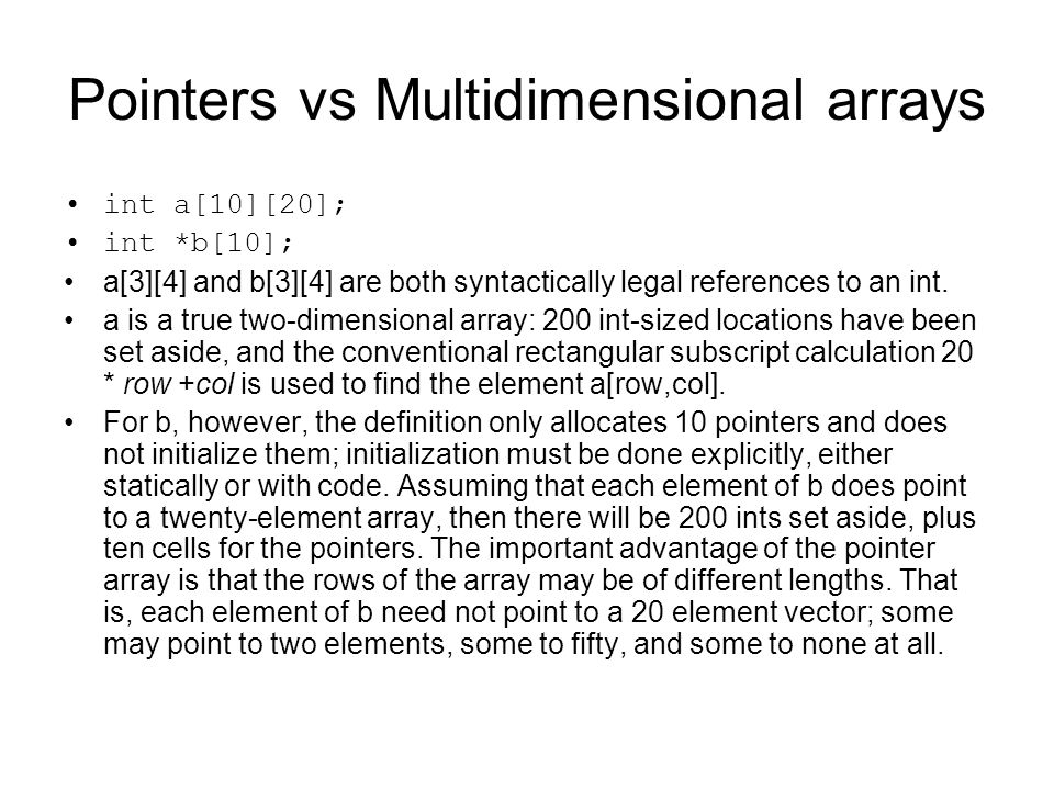 Pointers vs Multidimensional arrays