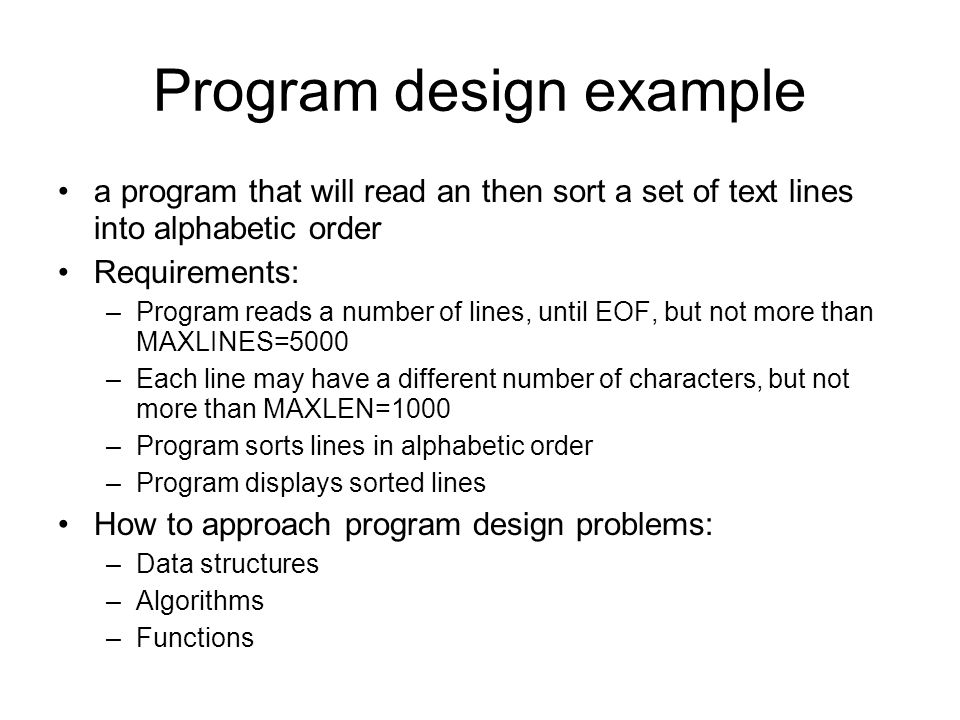 Program design example