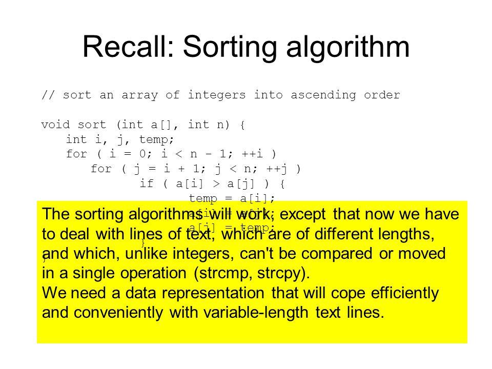 Recall: Sorting algorithm