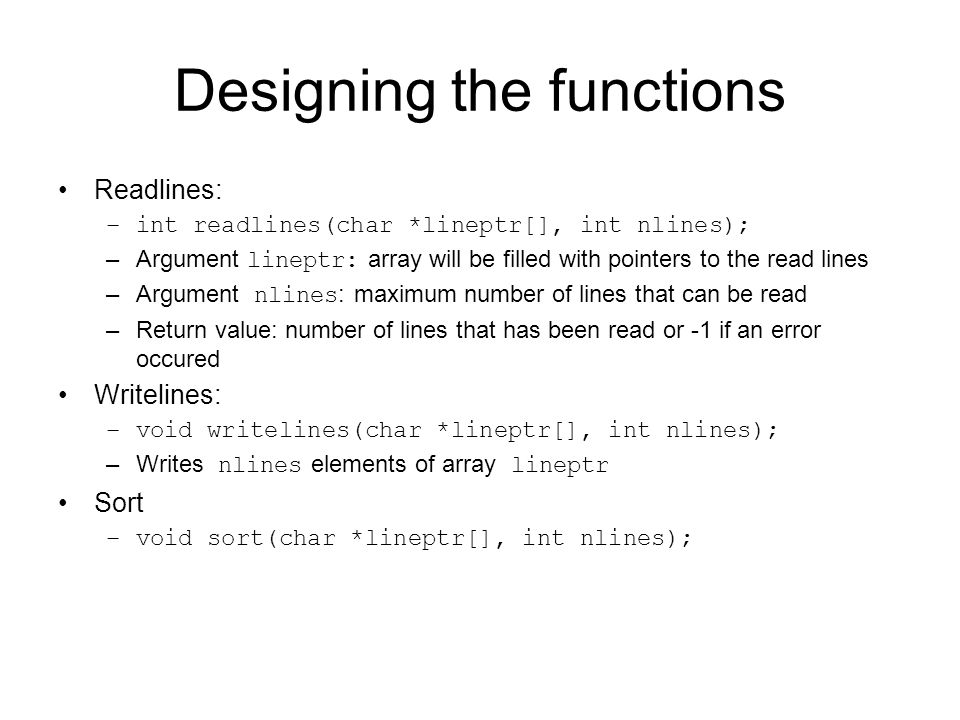 Designing the functions