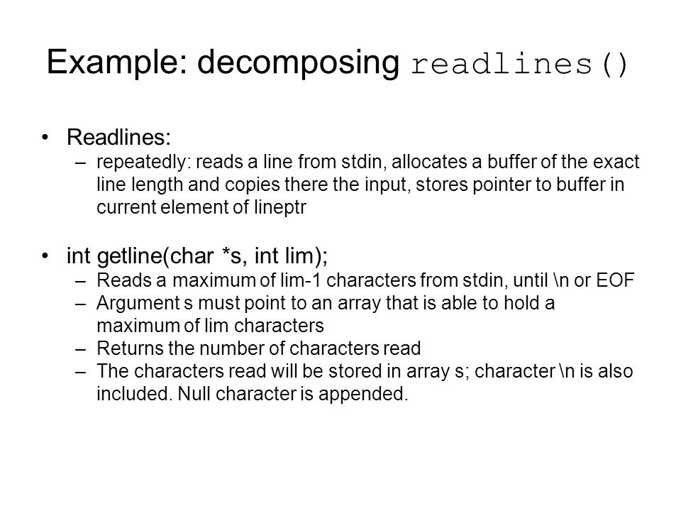 Example: decomposing readlines()