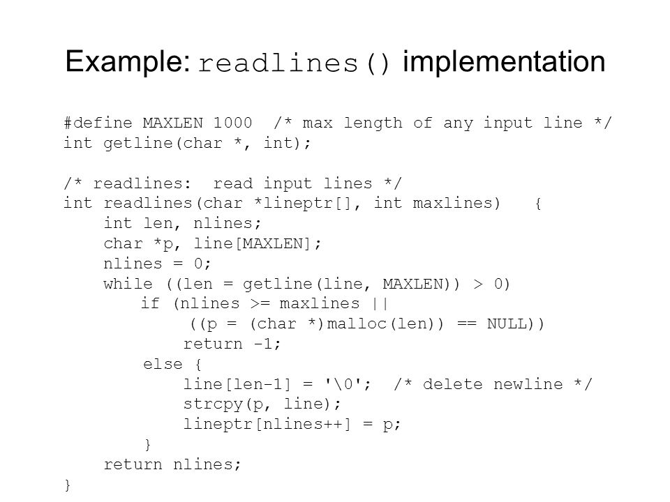Example: readlines() implementation