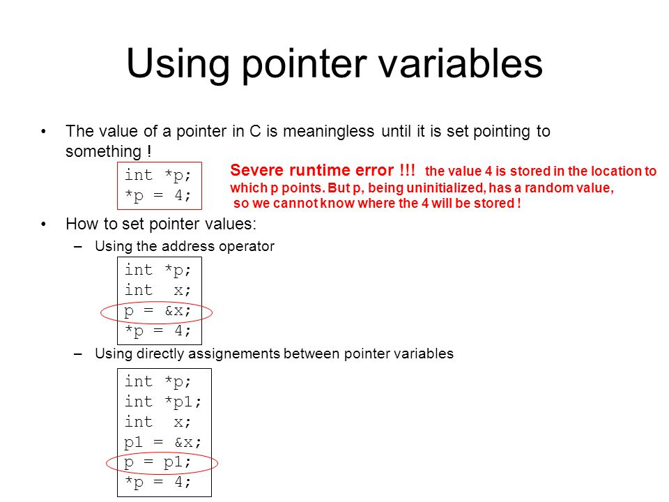 Using pointer variables
