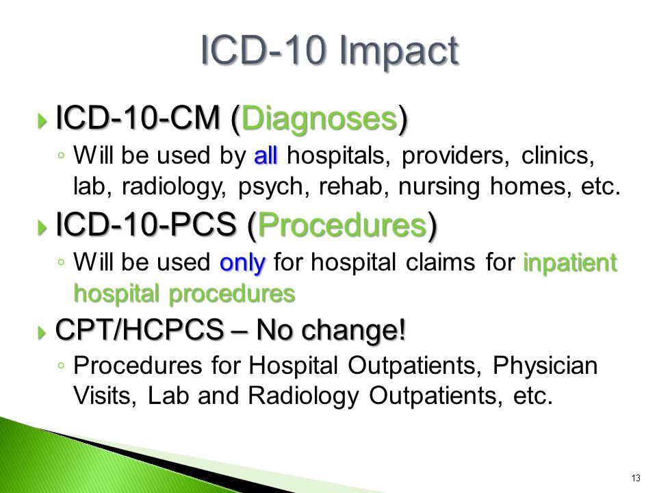 ICD-10 Impact ICD-10-CM (Diagnoses) ICD-10-PCS (Procedures)