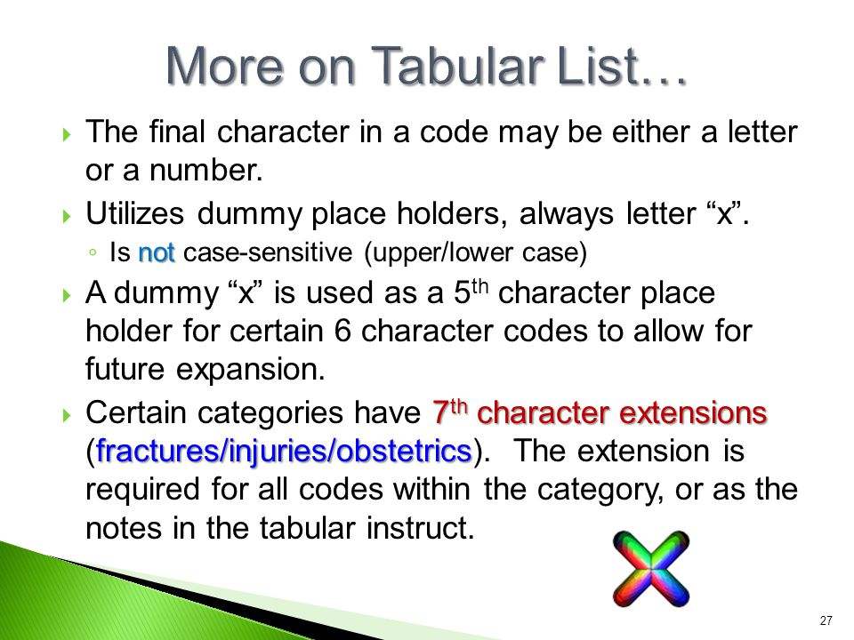 More on Tabular List… The final character in a code may be either a letter or a number. Utilizes dummy place holders, always letter x .