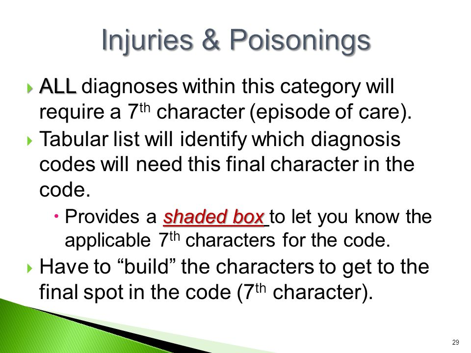 Injuries & Poisonings ALL diagnoses within this category will require a 7th character (episode of care).