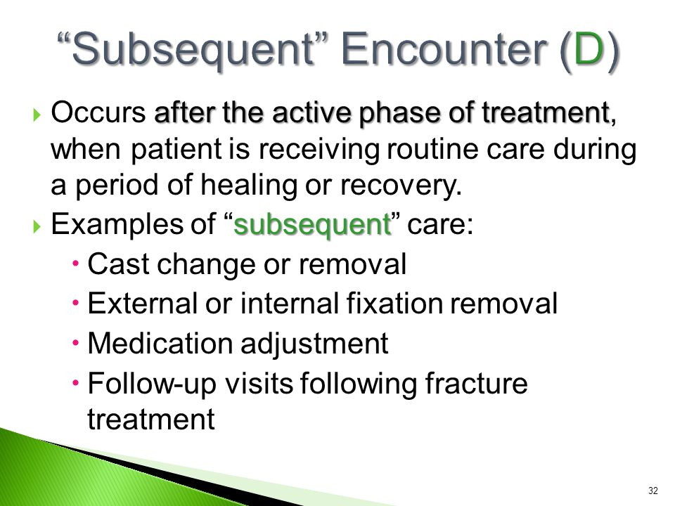 Subsequent Encounter (D)