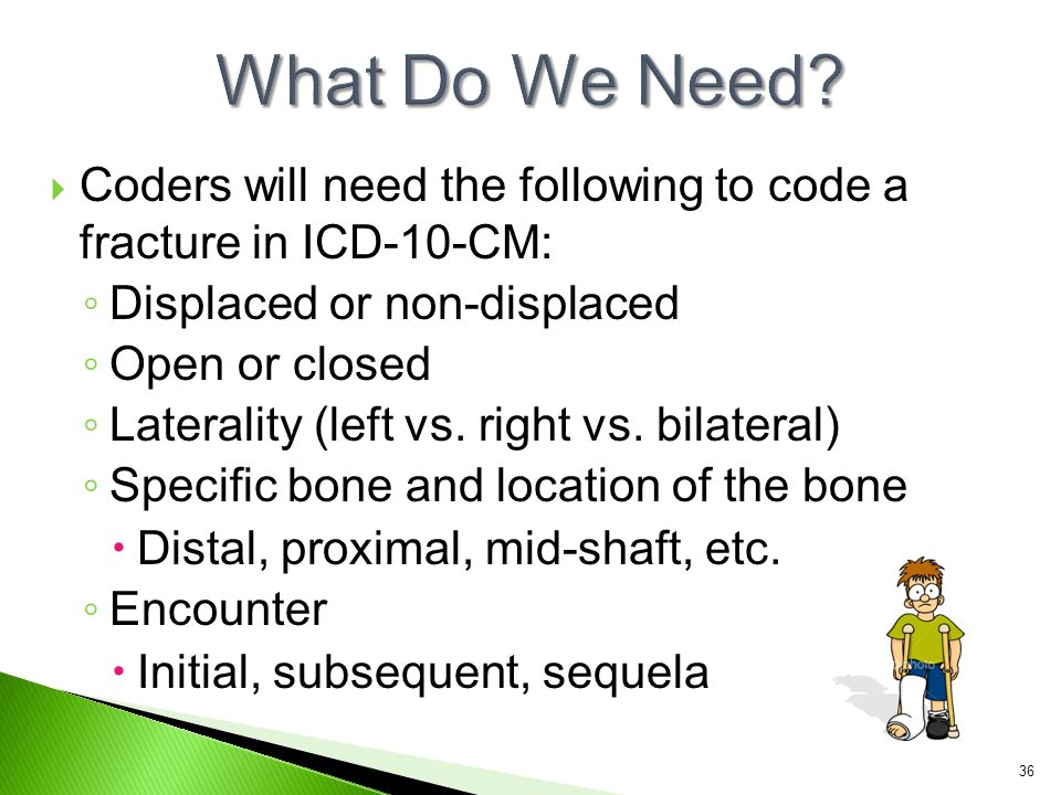 What Do We Need Coders will need the following to code a fracture in ICD-10-CM: Displaced or non-displaced.