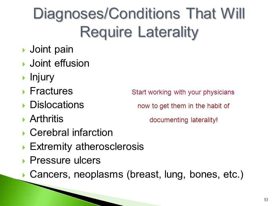 Diagnoses/Conditions That Will Require Laterality