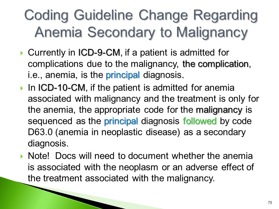 Coding Guideline Change Regarding Anemia Secondary to Malignancy