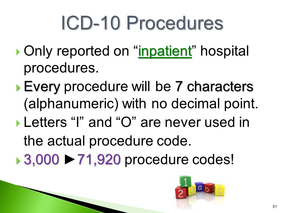 ICD-10 Procedures Only reported on inpatient hospital procedures.