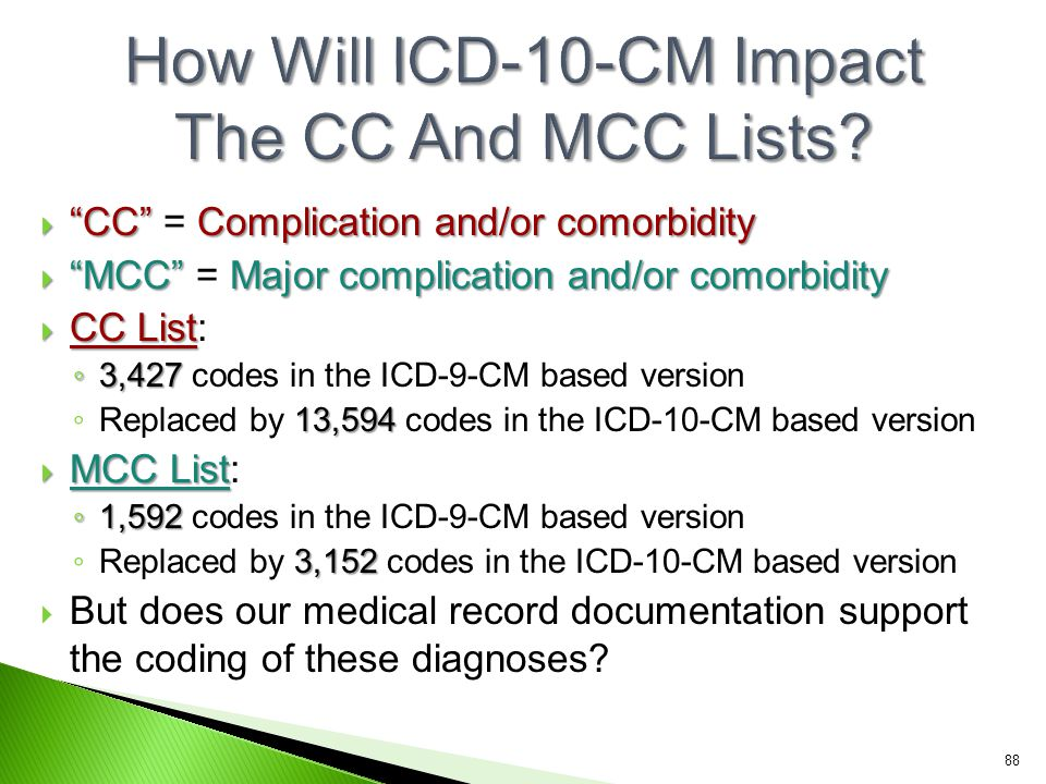 How Will ICD-10-CM Impact The CC And MCC Lists