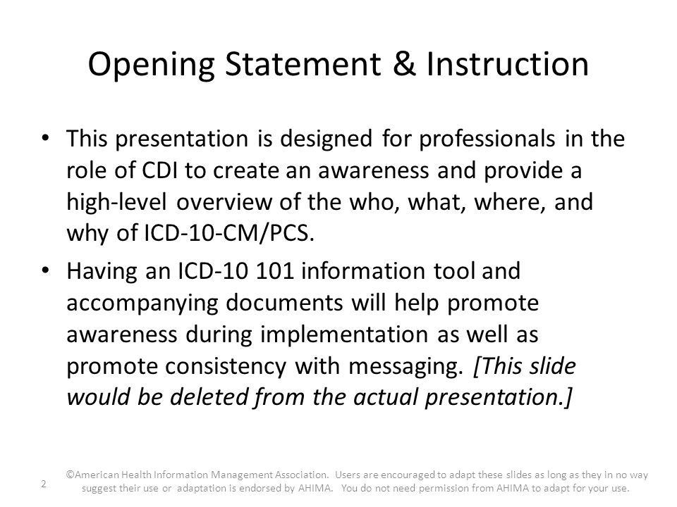 Opening Statement & Instruction