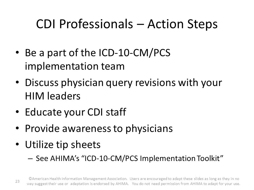 CDI Professionals – Action Steps