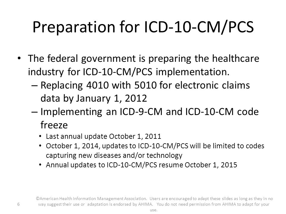 Preparation for ICD-10-CM/PCS