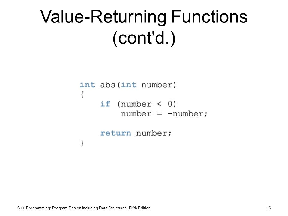 Value-Returning Functions (cont d.)