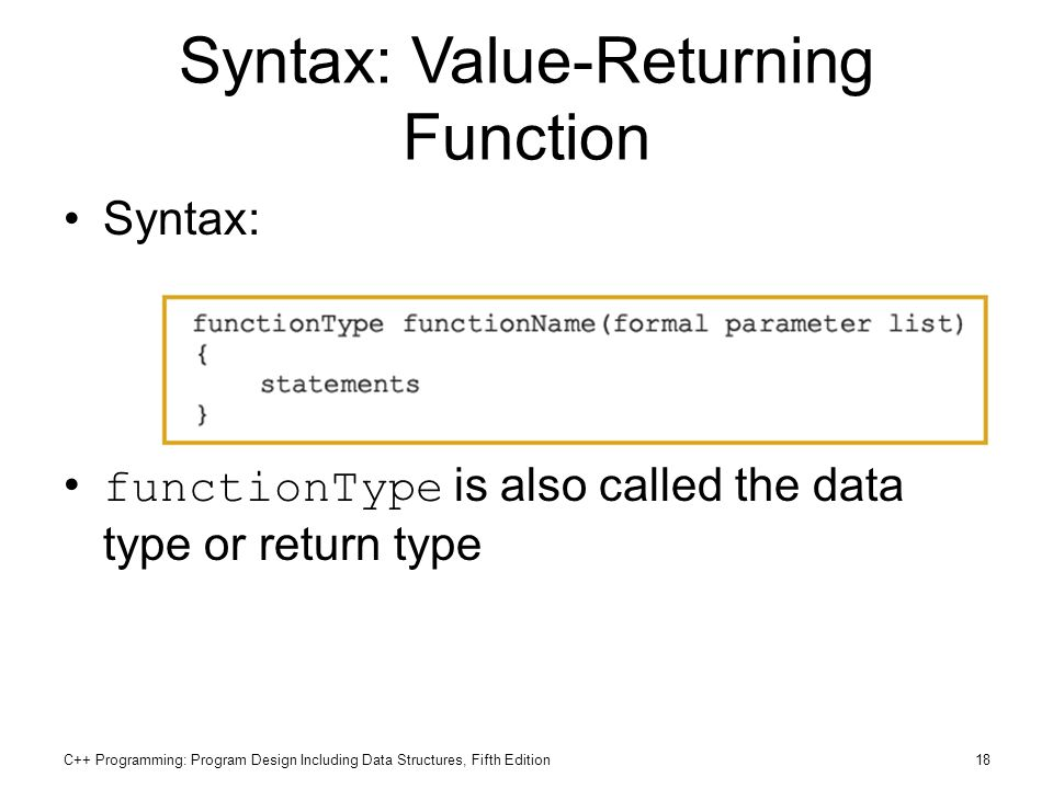 Syntax: Value-Returning Function