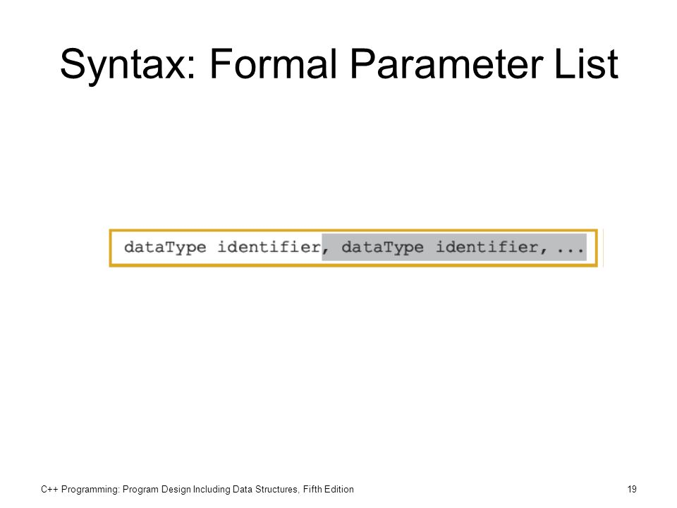 Syntax: Formal Parameter List