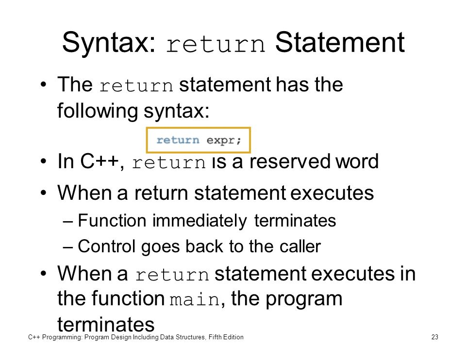 Syntax: return Statement