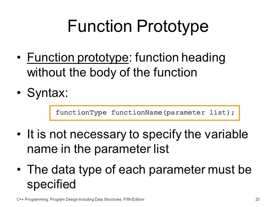 Function Prototype Function prototype: function heading without the body of the function. Syntax: