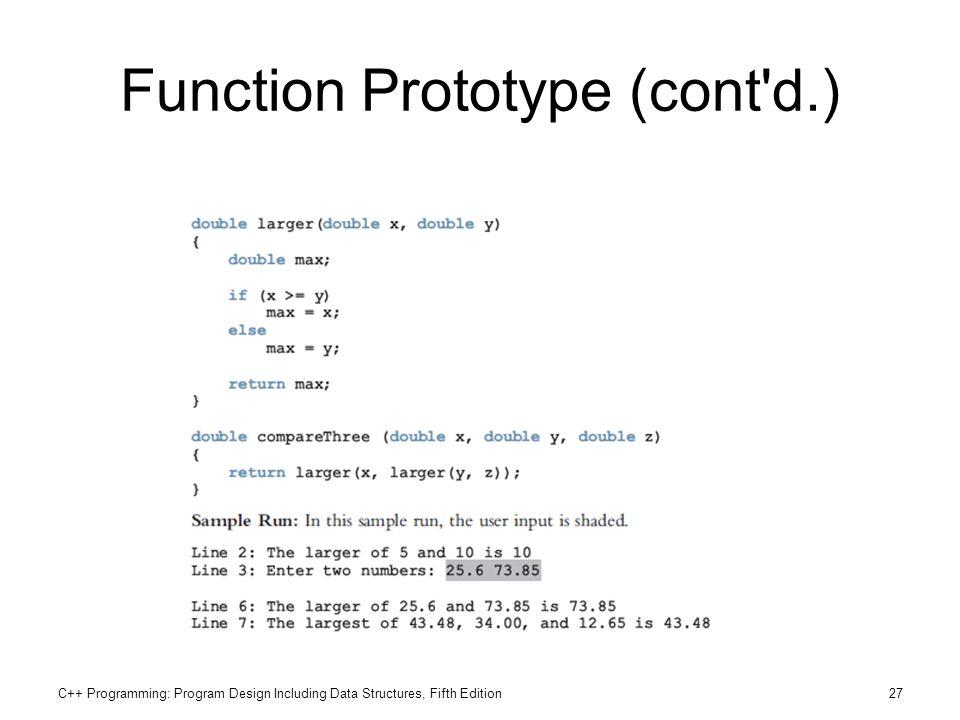 Function Prototype (cont d.)