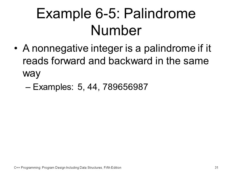 Example 6-5: Palindrome Number