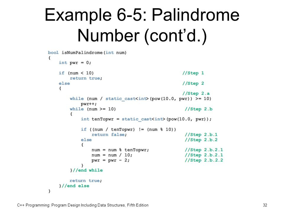 Example 6-5: Palindrome Number (cont'd.)