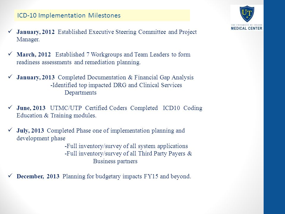ICD-10 Implementation Milestones