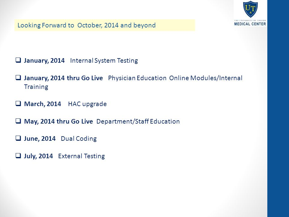 Looking Forward to October, 2014 and beyond