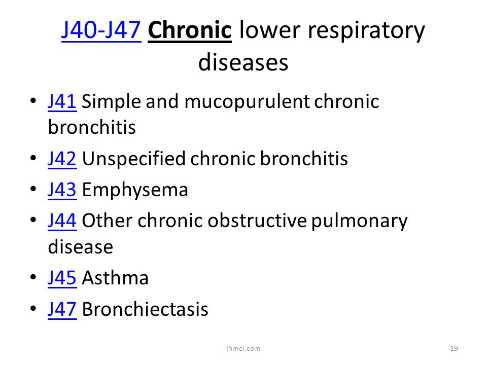 J40-J47 Chronic lower respiratory diseases