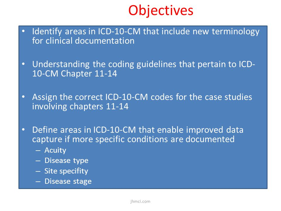 Objectives Identify areas in ICD-10-CM that include new terminology for clinical documentation.