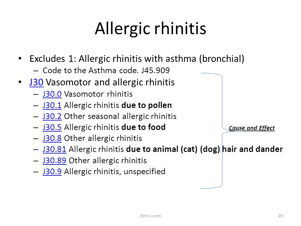 Allergic rhinitis Excludes 1: Allergic rhinitis with asthma (bronchial) Code to the Asthma code. J45.909.