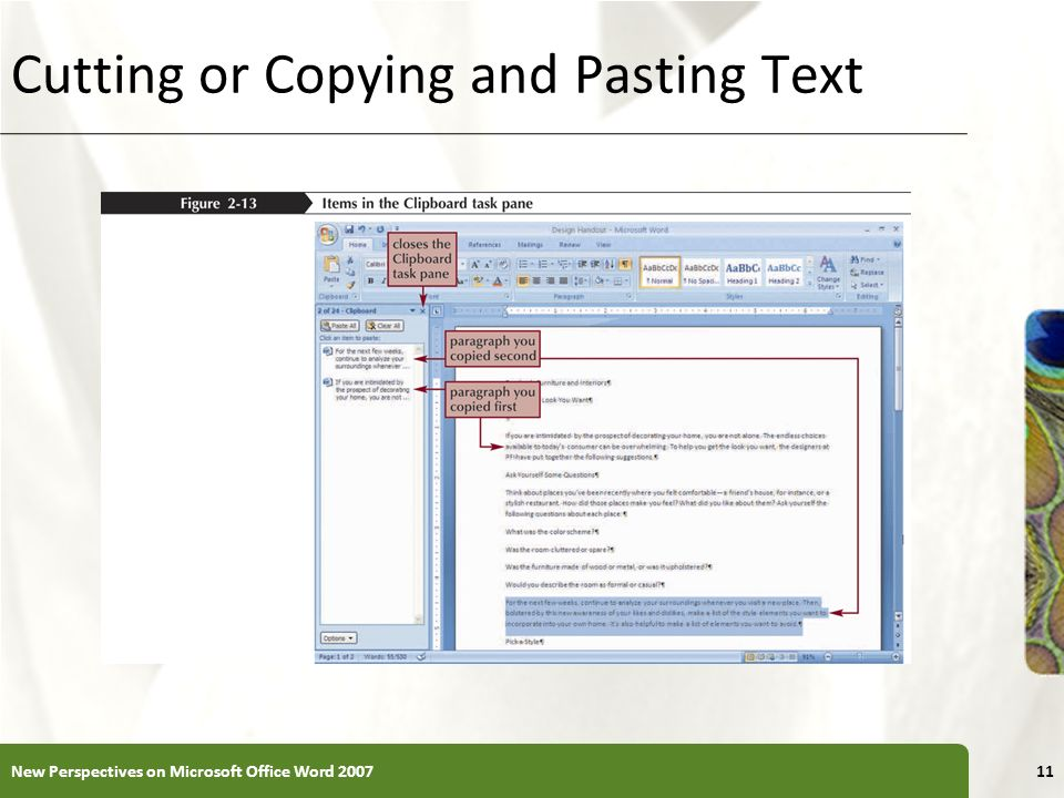 Cutting or Copying and Pasting Text